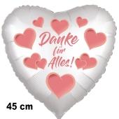 Danke für Alles. Herzluftballon aus Folie, satin-weiß-hearts, 45 cm