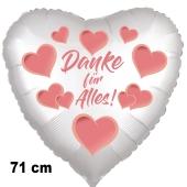 Danke für Alles. Herzluftballon aus Folie, satin-weiß-hearts, 71 cm
