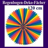 Deko-Fächer, Regenbogen Rosette, 120 cm groß