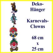 Dekoration zu Karneval und Fasching, Deko-Hänger mit 4 Clowns