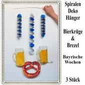 Bayrische Wochen Dekoration, 3 Dekohänger, Rotor-Spiralen, 2 x Bierkrug und 1 x Brezel