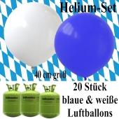 Oktoberfest Dekoration Helium Set, 20 blaue und weiße Heliumballons mit 3 Helium Einwegbehältern