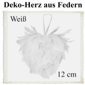 Herz aus Federn in Weiß, 12 cm