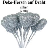Deko-Herzen auf Draht, silber mit Glitter, 12 Stück