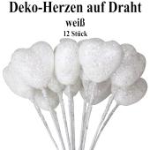 Deko-Herzen auf Draht, weiß mit Glitter, 12 Stück