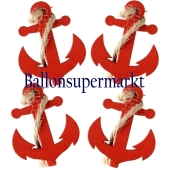 Deko-Klammern Anker, rot, 4 Stück
