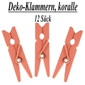 Holz-Deko-Klammern, koralle, 12 Stück