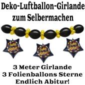 """Ballongirlande """"Endlich Abitur!"""" zum Selbermachen - Kettenballons und Miniballons Schwarz-Gold, 3 Folienballons 3 Meter"""