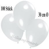 Deko-Luftballons Weiß, 100 Stück