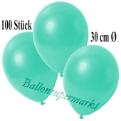 Deko-Luftballons Metallic Aquamarin, 100 Stück