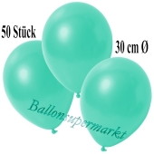 Deko-Luftballons Metallic Aquamarin, 50 Stück