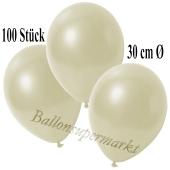 Deko-Luftballons Metallic Elfenbein, 100 Stück