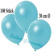 Deko-Luftballons Metallic Hellblau, 100 Stück