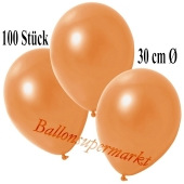 Deko-Luftballons Metallic Orange, 100 Stück