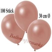 Deko-Luftballons Metallic Roségold, 100 Stück