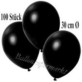 Deko-Luftballons Metallic Schwarz, 100 Stück