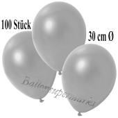 Deko-Luftballons Metallic Silber, 100 Stück