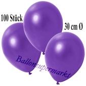 Deko-Luftballons Metallic Violett, 100 Stück