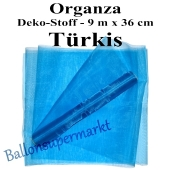 Organza Deko-Stoff, Türkis, 9 Meter x 36 cm