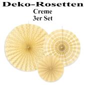 Deko-Rosetten, Cremefarben, 3 Stück-Set