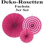 Deko-Rosetten, Fuchsia, 3 Stück-Set
