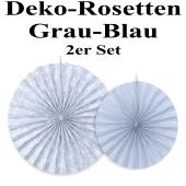 Deko-Rosetten, Grau-Blau, 2 Stück-Set