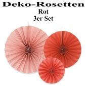 Deko-Rosetten, Rot, 3 Stück-Set