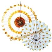 Deko-Rosetten Festive Gold, 2 Stück-Set