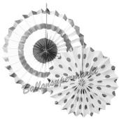 Deko-Rosetten Sparkling Silver, 2 Stück-Set