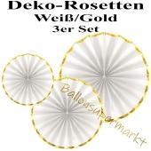 Glänzende Deko-Rosetten, Weiß-Gold, 3 Stück-Set