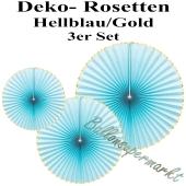 Glänzende Deko-Rosetten, Hellblau-Gold, 3 Stück-Set