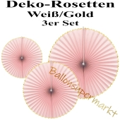 Glänzende Deko-Rosetten, Rosa-Gold, 3 Stück-Set