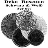 Glänzende Deko-Rosetten, Schwarz-Weiß, 5 Stück-Set