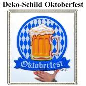 Oktoberfest, Bayrische Wochen Dekoration, Deko-Wandschild mit Bierkrug, bayrische Rauten, 48 cm x 46 cm