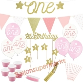 Deko-Set zum 1. Kindergeburtstag, 1st Birthday Girl, 33 Teile