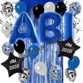 Dekorations-Set mit Ballons zum Abitur 2020 in Blau und Schwarz, 33 Teile