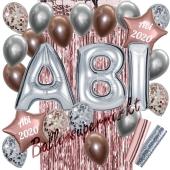 Dekorations-Set mit Ballons zum Abitur 2020 in Silber und Rosegold mit Chromglanz, 26 Teile
