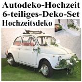 Autodekoration Hochzeit, 6-teiliges Deko-Set