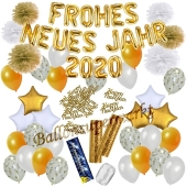 Silvester Dekorations-Set mit Ballons Frohes neues Jahr 2020 White & Gold, 49 Teile