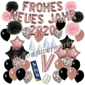 Silvester Dekorations-Set mit Ballons Frohes neues Jahr 2020 Black & Rose Gold, 52 Teile