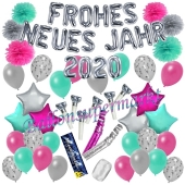 Silvester Dekorations-Set mit Ballons Frohes neues Jahr 2020 Silvestertraum, 54 Teile