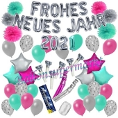 Silvester Dekorations-Set mit Ballons Frohes neues Jahr 2021 Silvestertraum, 54 Teile