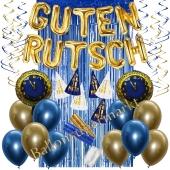 Silvester Dekorations-Set mit Ballons Guten Rutsch Blue & Gold, 35 Teile