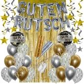 Silvester Dekorations-Set mit Ballons Guten Rutsch Silver & Gold, 35 Teile