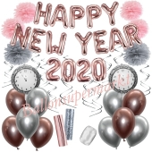 Silvester Dekorations-Set mit Ballons Happy New Year 2020 Rose Gold & Silver, 32 Teile