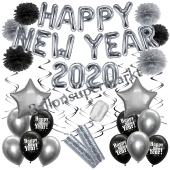 Silvester Dekorations-Set mit Ballons Happy New Year 2020 Black & Silver, 32 Teile