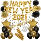 Silvester Dekorations-Set mit Ballons Happy New Year 2021 Black & Gold, 32 Teile