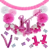 Do it Yourself Dekorations-Set mit Ballongirlande zum 11. Geburtstag, Happy Birthday Pink & White, 91 Teile