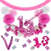 Do it Yourself Dekorations-Set mit Ballongirlande zum 13. Geburtstag, Happy Birthday Pink & White, 91 Teile