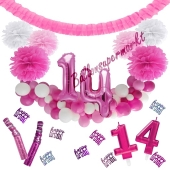 Do it Yourself Dekorations-Set mit Ballongirlande zum 14. Geburtstag, Happy Birthday Pink & White, 91 Teile